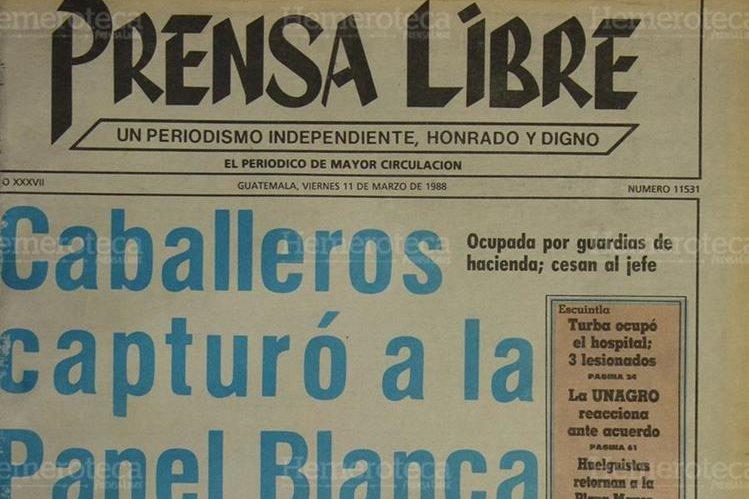 Portada del 11/03/1988 informo de la captura los integrantes de la Panel Blanca. ( Foto: Hemeroteca PL)