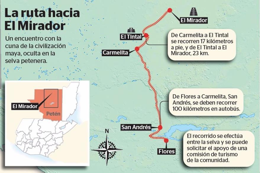 El recorrido hacia el mirado se efectúan entre la selva del Reserva de la Biosfera Maya. (Infografía Prensa Libre: Esteban Arreola)