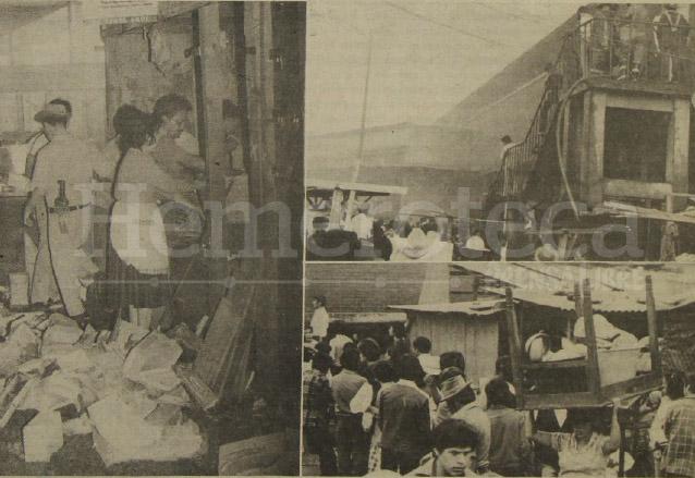 Vista de los daños provocado por un incendio en el Mercado La Terminal el 19 de noviembre de 1981. (Foto: Hemeroteca PL)