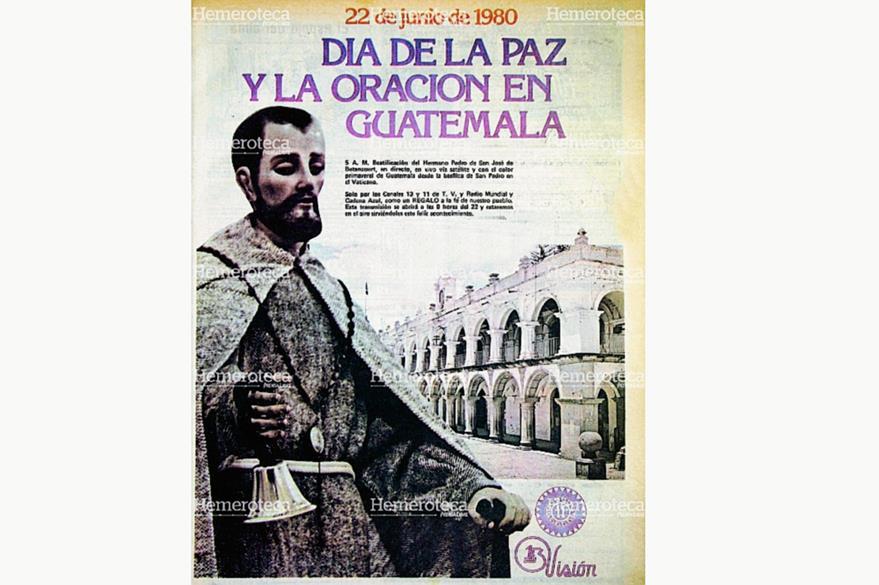 Anuncio publicitario de 1980 sobre la transmisión en directo desde Roma de la ceremonia de beatificación del Hermano Pedro. (Foto: Hemeroteca PL)