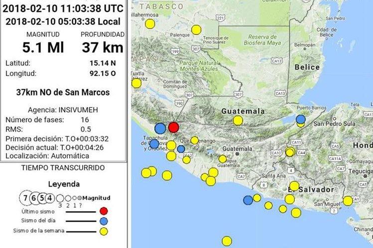 Hasta ahora las autoridades no han reportado daños por los últimos dos sismos registrados este sábado. (Foto Prensa Libre: Insivumeh)