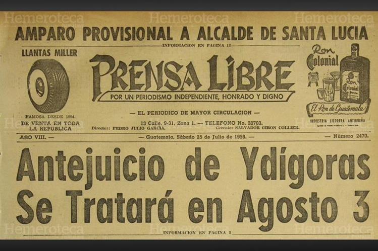 Titular en donde se habla del antejuicio contra Ydígoras. (Foto: Hemeroteca PL)