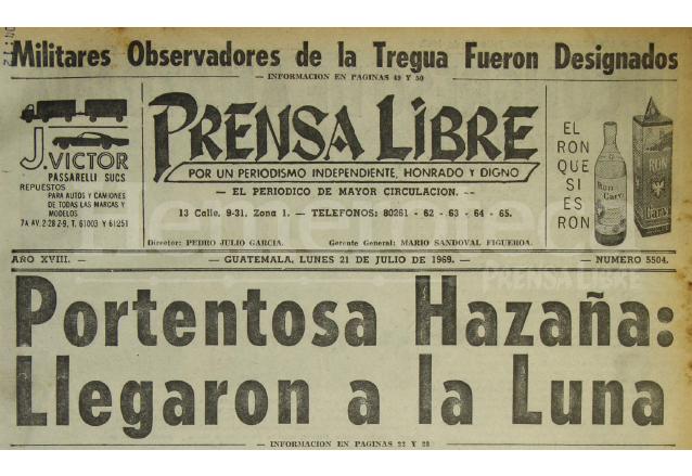 Prensa Libre dio puntual cobertura a los pasos realizados por los astronautas norteamericanos en su llegada a la Luna en julio de 1969. (Foto: Hemeroteca PL)