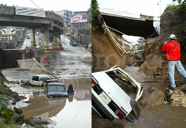 Tres vehículos que circulaban por la arteria al momento del hundimiento cayeron en una corriente de agua y lodo.  (Foto: Hemeroteca PL)