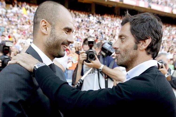 Quique Sánchez Flores reconoce el talento de Pep Guardiola al banquillo. (Foto Prensa Libre:EFE)
