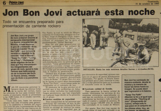 Nota informativa sobre los preparativos del concierto de la Banda Bon Jovi el 31 de octubre de 1993. (Foto: Hemeroteca PL)