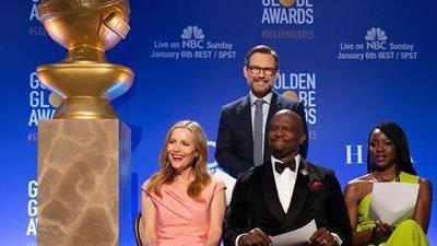 Los actores Danai Gurira (derecha), Terry Crews (centro), Leslie Mann (izquierda) y Christian Slater (arriba) fueron los encargados de anunciar a los nominados. (Foto Prensa Libre: AFP)
