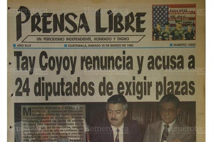 Titular de Prensa Libre del 25 de marzo de 1995. (Foto: Hemeroteca PL)