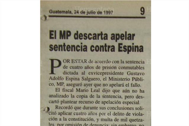 MP desiste de apelar sentencia contra Espina Salguero. (Foto: Hemeroteca PL)