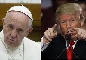 """Donald Trump (der.) dice que el papa Francisco está """"mal informado"""". (Fotos Prensa Libre: EFE/AFP)."""