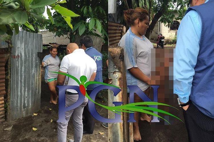 Personal de la PGN ubican y rescatan a menor que era maltratado en Escuintla. (Foto Prensa Libre: PGN)