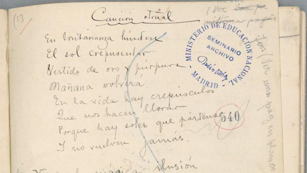 Poemas manuscritos de Darío también hacen parte del archivo. BIBLIOTECA UNIVERSIDAD COMPLUTENSE