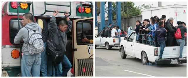 Poca unidades de transporte colectivo están circulando. Las personas optan por transporte alternativo. (Foto Prensa Libre: Érick Ávila)