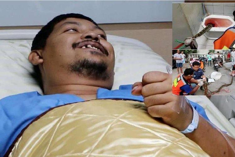 Imagenes de un tailandés que fue atacado por una serpiente pitón en el inodoro.