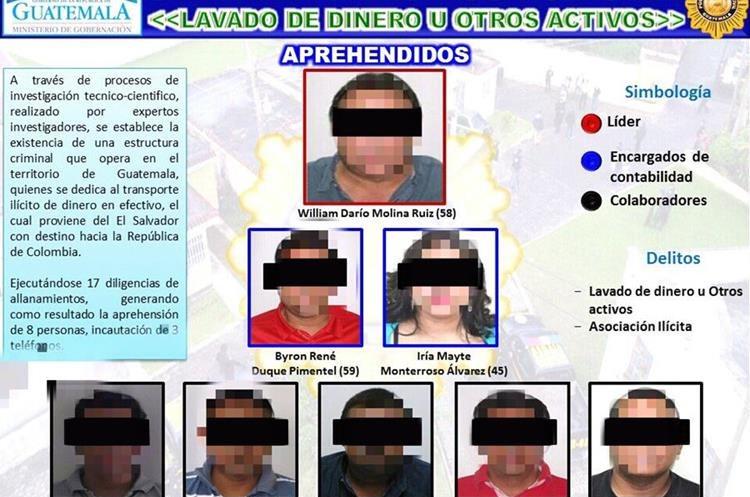 """La estructura que lavó dinero """"producto del narcotráfico"""". (Foto Prensa Libre: PNC)"""