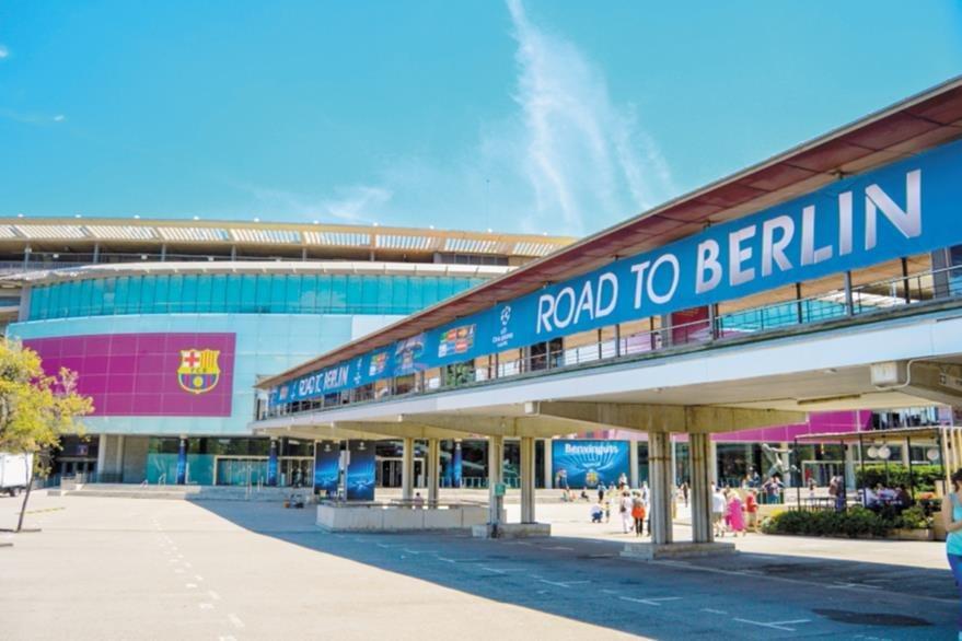 Entrada al estadio Camp Nou, del FC Barcelona, con capacidad para más de 99 mil espectadores.