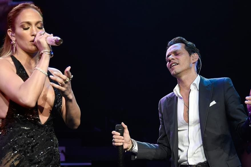 Jennifer Lopez performs onstage with Marc Anthony at Radio City Music Hall on August 27, 2016 in New York City.  (Photo by Kevin Mazur/WireImage)