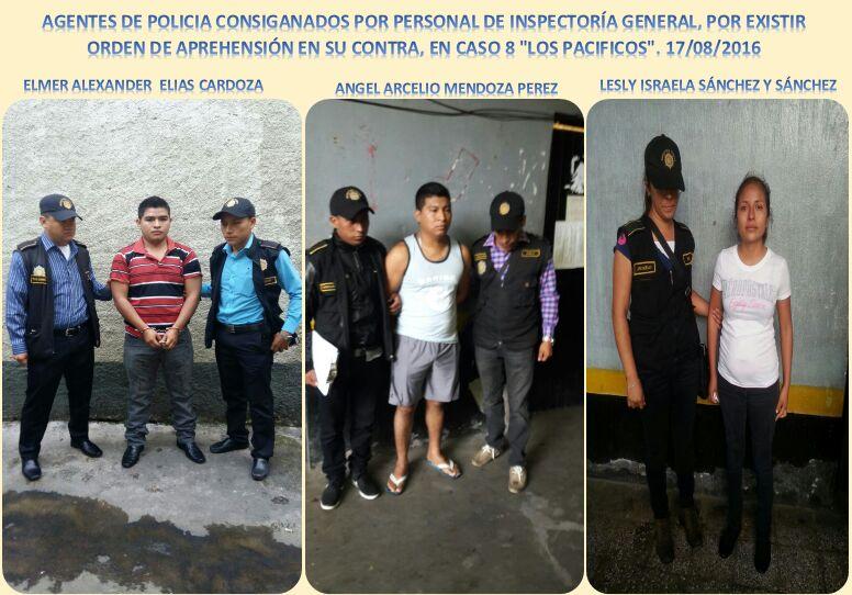Tres de los agentes de la PNC capturados, sindicados de haber participado en el robo de narcóticos. (Foto Prensa Libre: PNC)