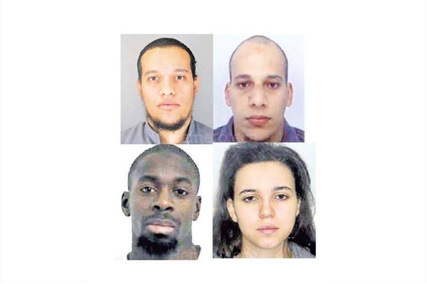 Cuatro sospechosos de los atentados en París, Francia: Said Kouachi, Chérif Kouachi, Amedy Coulibaly, Hayat Boumeddiene. (Foto: Hemeroteca PL)