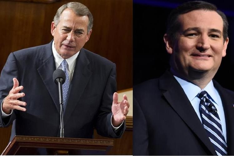 John Boehner (i) criticó fuertemente a Ted Cruz (d). (Foto Prensa Libre: Agencias).