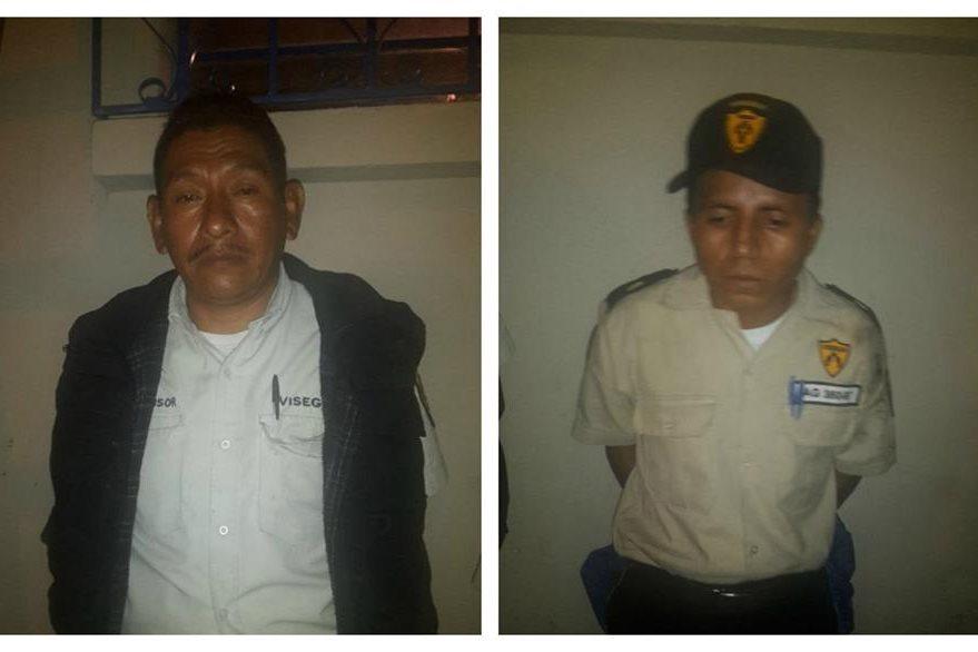 Guardias privados detenidos en el operativo. (Foto Prensa Libre: PNC)
