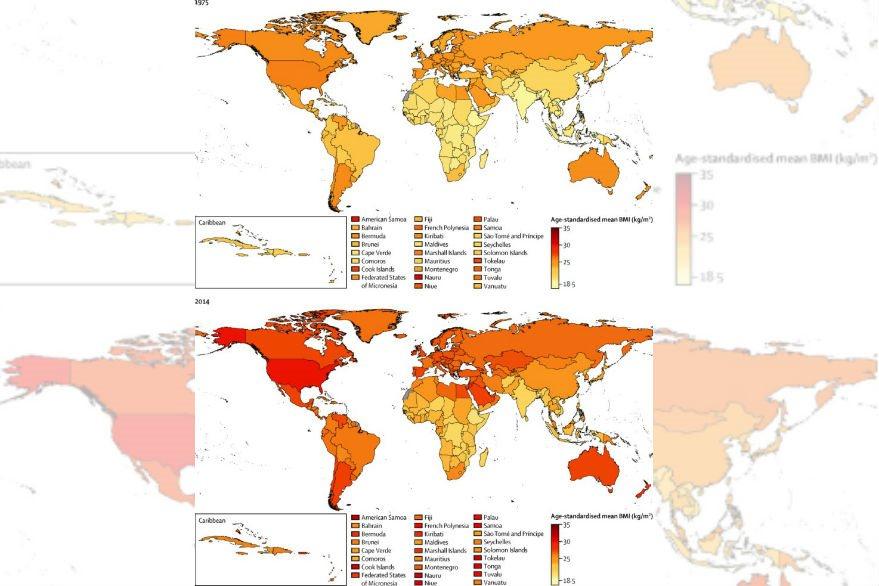 """Según gráfica tomada del sitio de """"The Lancet"""", se observa el aumento de población con IMC de 30 a 35, considerado como obesidad."""