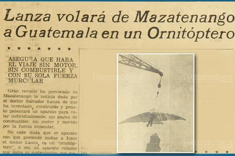 En 1952 trascendió la invención de una máquina voladora en Mazatenango. Inserto, un aparato similar al creado en Guatemala. (Foto: Hemeroteca PL)