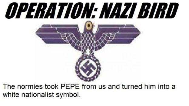 """En el foro de 4chan, algunos usuarios llamaban a usar la figura de Trash Dove como símbolo del """"supremacismo blanco"""". (4CHAN)"""