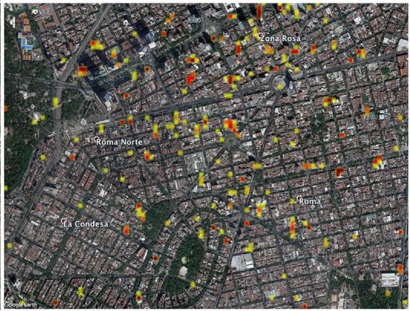 Las zonas amarillas y otras rojas, indicando un cambio más significativo en la superficie del suelo. (Foto Prensa Libre: Nasa)
