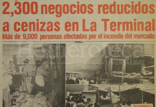La portada de Prensa Libre del 21 de noviembre de 1981 mostraba la  magnitud del incendio del mercado la Terminal. (Foto: Hemeroteca PL)