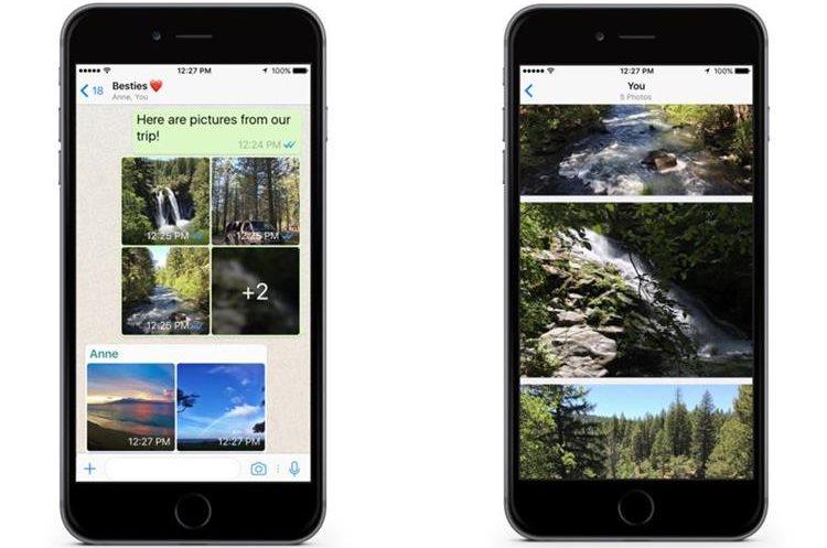 Una de las nuevas posibilidades es compartir álbumes con varias fotos en un chat (Foto Prensa Libre: Servicios).