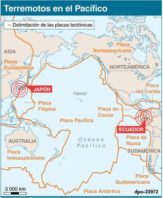 Ecuador y Japón fueron sacudidos por fuertes terremotos.