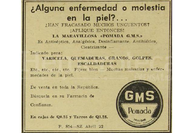 Anuncio de la pomada GMS publicado en Prensa Libre del 22 de abril de 1964. (Foto: Hemeroteca PL)