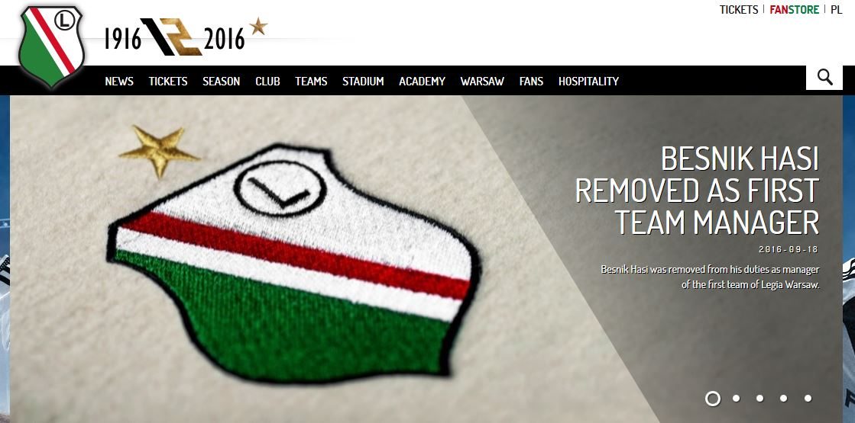 Este es el anuncio que hizo el equipo de la capital polaca en su sitio de internet. (Foto Prensa Libre: Sitio oficial del Legia de Varsovia)