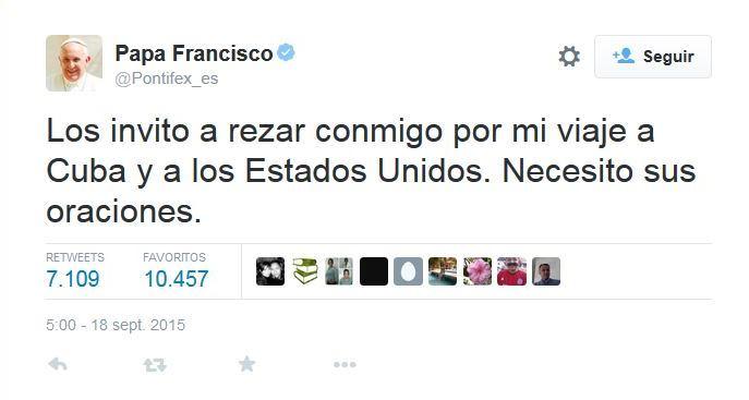 <em>El Papa Francisco pidió a sus miles de seguidores que oren por él. (Foto: Twitter/@Pontifiex_es).</em>
