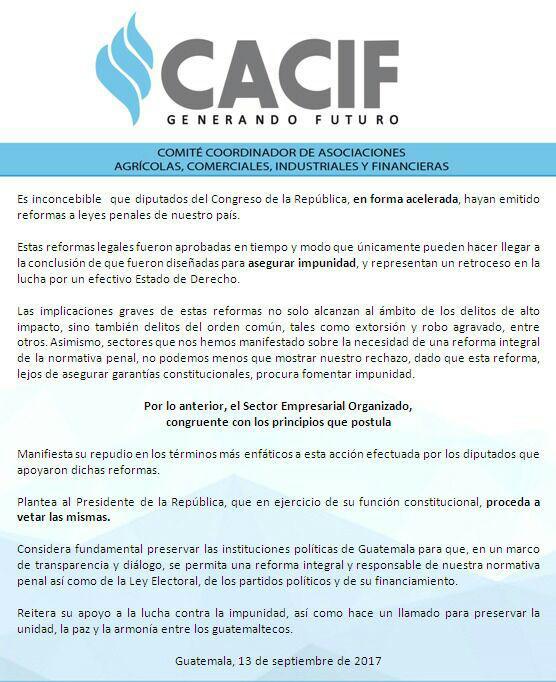 Pronunciamiento del Cacif sobre las reformas aprobadas por los diputados a favor de la corrupción. (Foto Prensa Libre: Cacif).