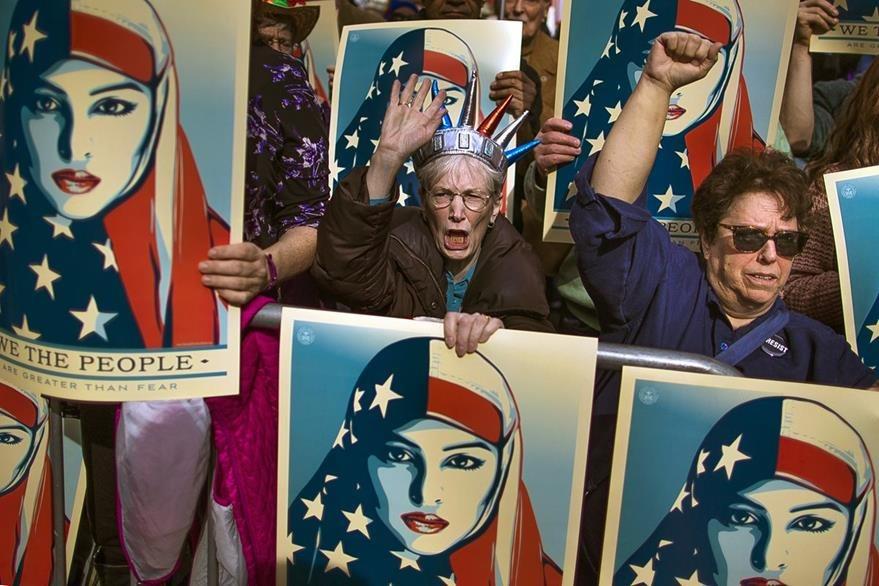 Protesta contra el decreto migratorio de Trump (AP)