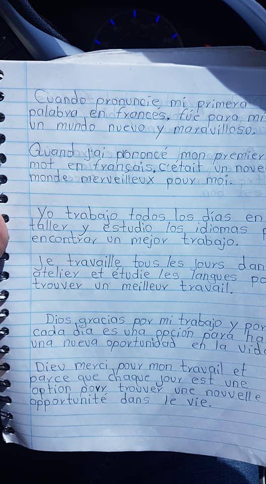 Apuntes de Pedro Manuel Pérez Pérez donde practica otros idiomas en sus tiempos libres. (Foto Prensa Libre: Édgar Lara)