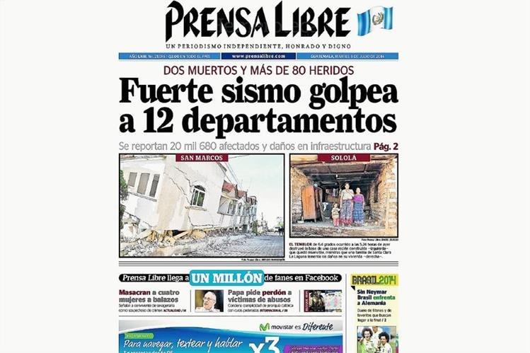 Terremoto golpea en julio del 2014 departamentos del sur y occidente del país, especialmente San Marcos. (Foto: Hemeroteca PL)