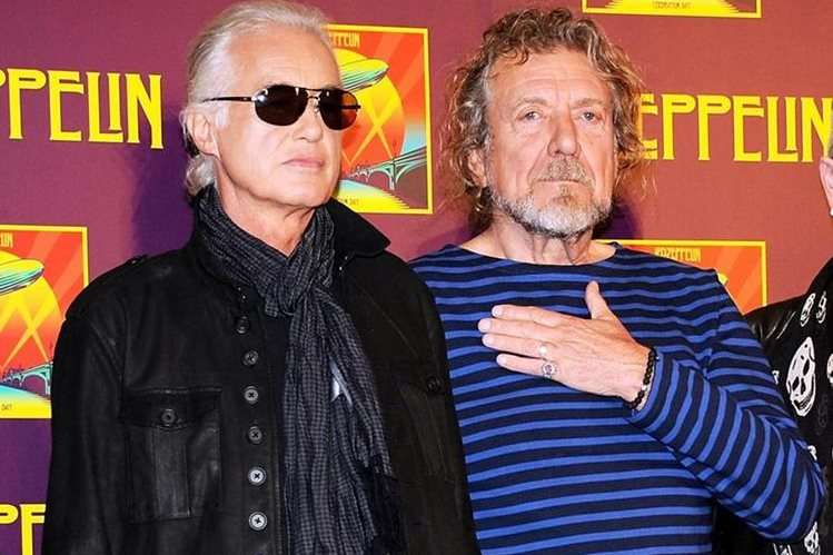 Jimmy Page y Robert Plant durante una conferencia de prensa en Nueva York. (Foto Prensa Libre: AP)