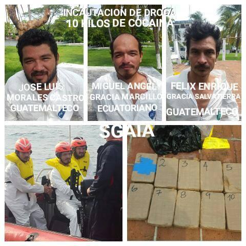 Dos guatemaltecos y un ecuatoriano son señalados por posesión de cocaína. (Foto Prensa Libre: Cortesía PNC)
