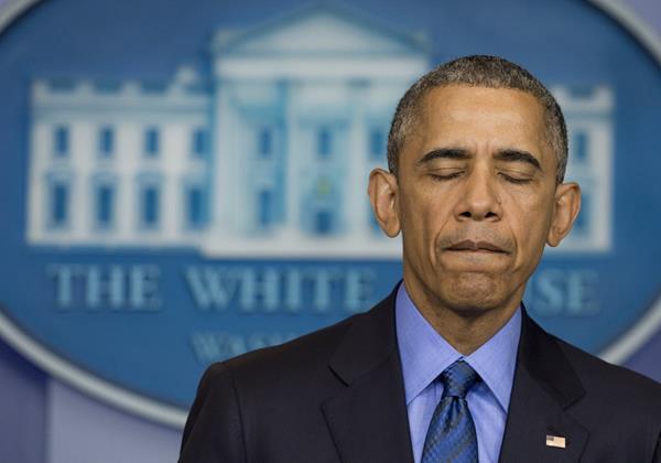 <em>El presidente de Estados Unidos, Barack Obama, durante la conferencia de prensa en la que expresó su tristeza por el caso Charleston. (Foto Prensa Libre: AFP).</em>