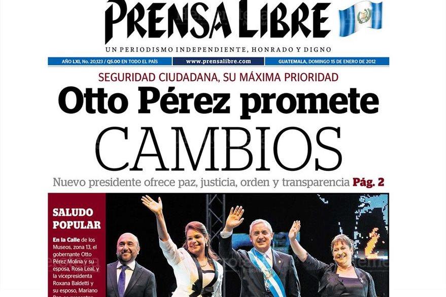 Portada 15/1/2012 de Prensa Libre Toma posesión  Otto Pérez y Roxana Baldetti. (Foto: Hemeroteca PL)