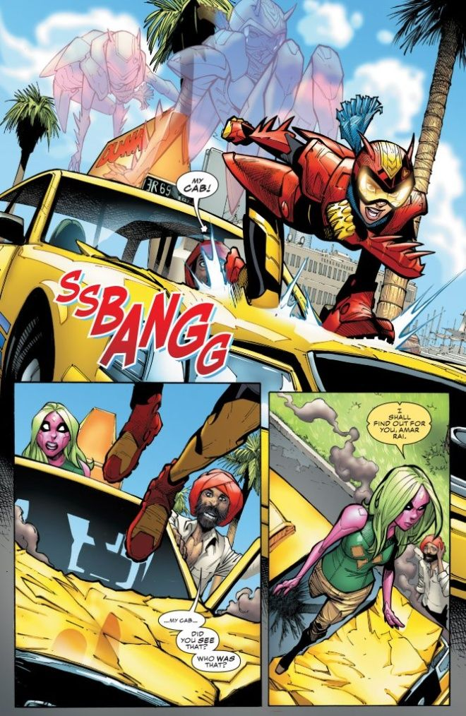 Fragmento del cómic número 9 de la serie Champions donde aparece Red Locust. (Foto Prensa Libre: LaCovacha).