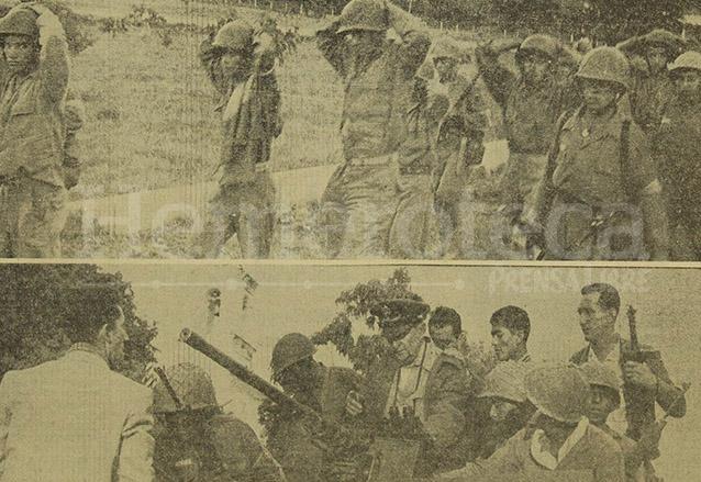 Arriba, militares que se rindieron en oriente ante el avance de las fuerzas afines al gobierno. Abajo Ydígoras en Zacapa redacta un discurso. (Foto: Hemeroteca PL)