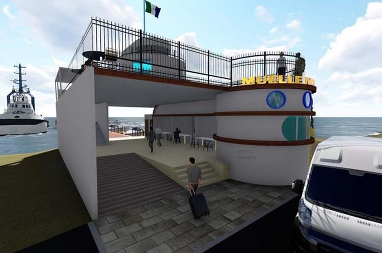Diseño del muelle comercial turístico de Puerto Barrios que será construido por el Inguat y la municipalidad local. (Foto Prensa Libre: Dony Stewart)