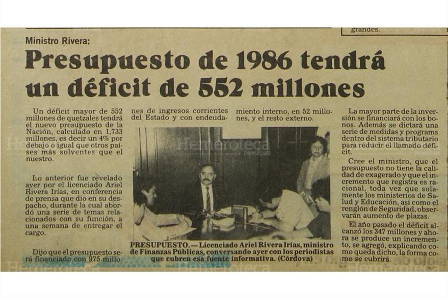 Nota sobre el Presupuesto de 1986. (Foto: Hemeroteca PL)