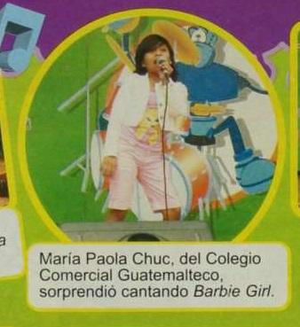Cuando el jurado del Talent Kids visitó el colegio Comercial Guatemalteco, Paola Chuc interpretó el tema Barbie Girl, del grupo Aqua. (Foto Prensa Libre: HemerotecaPL)