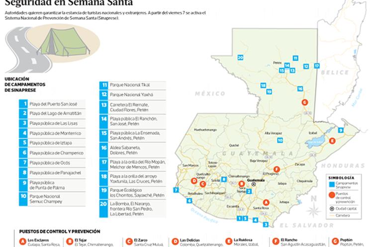 Conred habilitará 20 campamentos y siete puestos de control en el país. (Infografía Prensa Libre: Benildo Concoguá)