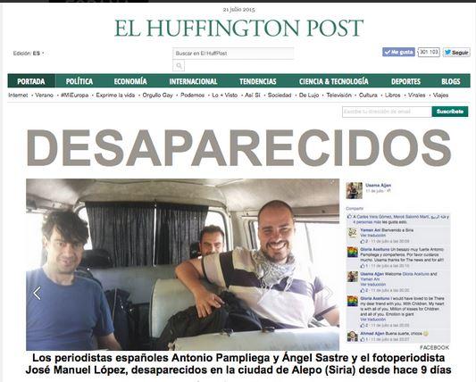 El medio El Huffington Post publicó una fotografía en su cuenta de Twitter con los periodistas desaparecidos. (Foto: Twitter).